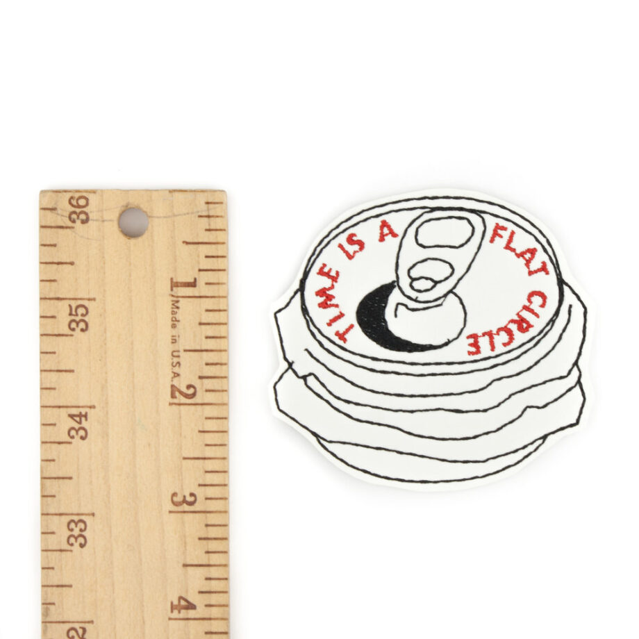 Time is a flat circle embroidered iron on patch by Crewel and Unusual