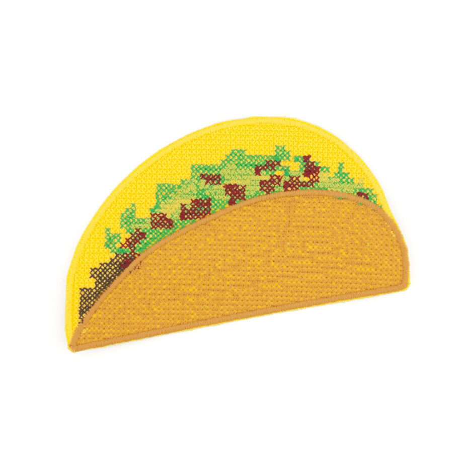 Taco embroidered iron on patch by Crewel and Unusual