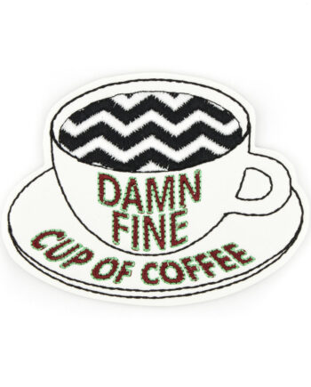 Damn Fine Coffee embroidered patch by Crewel and Unusual