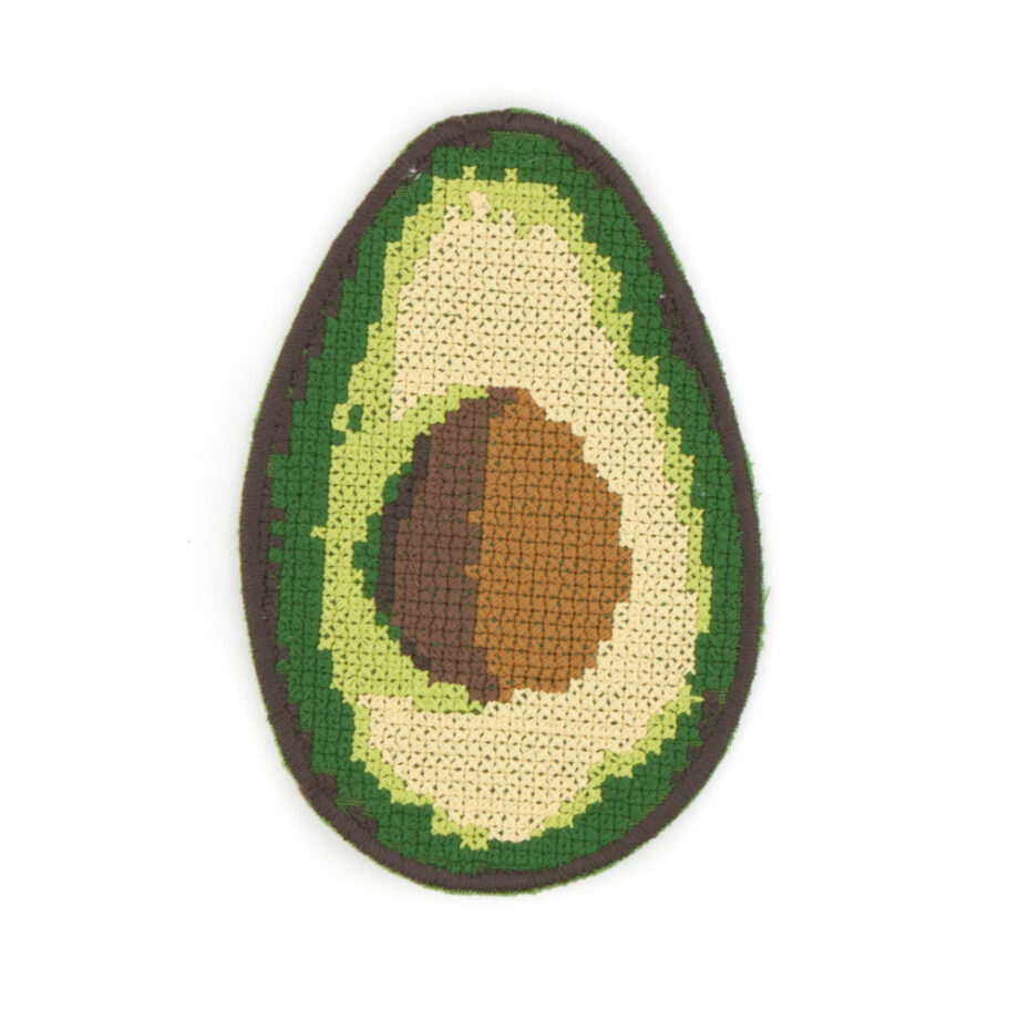 avocado embroidered iron on patch by Crewel and Unusual