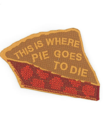 cross-stitched pie embroidered patch by Crewel and Unusual