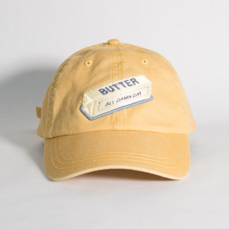 Stick of Butter Embroidery on a Dad Hat by Crewel and Unusual