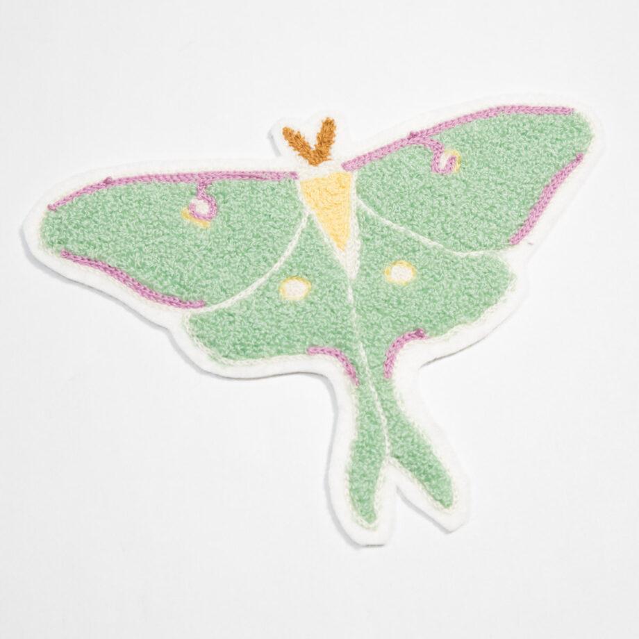 Luna Moth chenille chainstitched patch