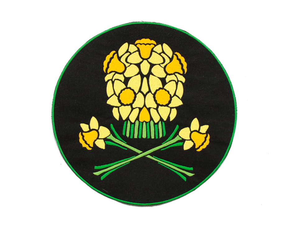 Daffodil Skull embroidered patch by Crewel and Unusual