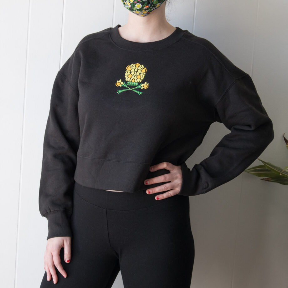 Daffodil Floral Skull Sweatshirt by Crewel and Unusual