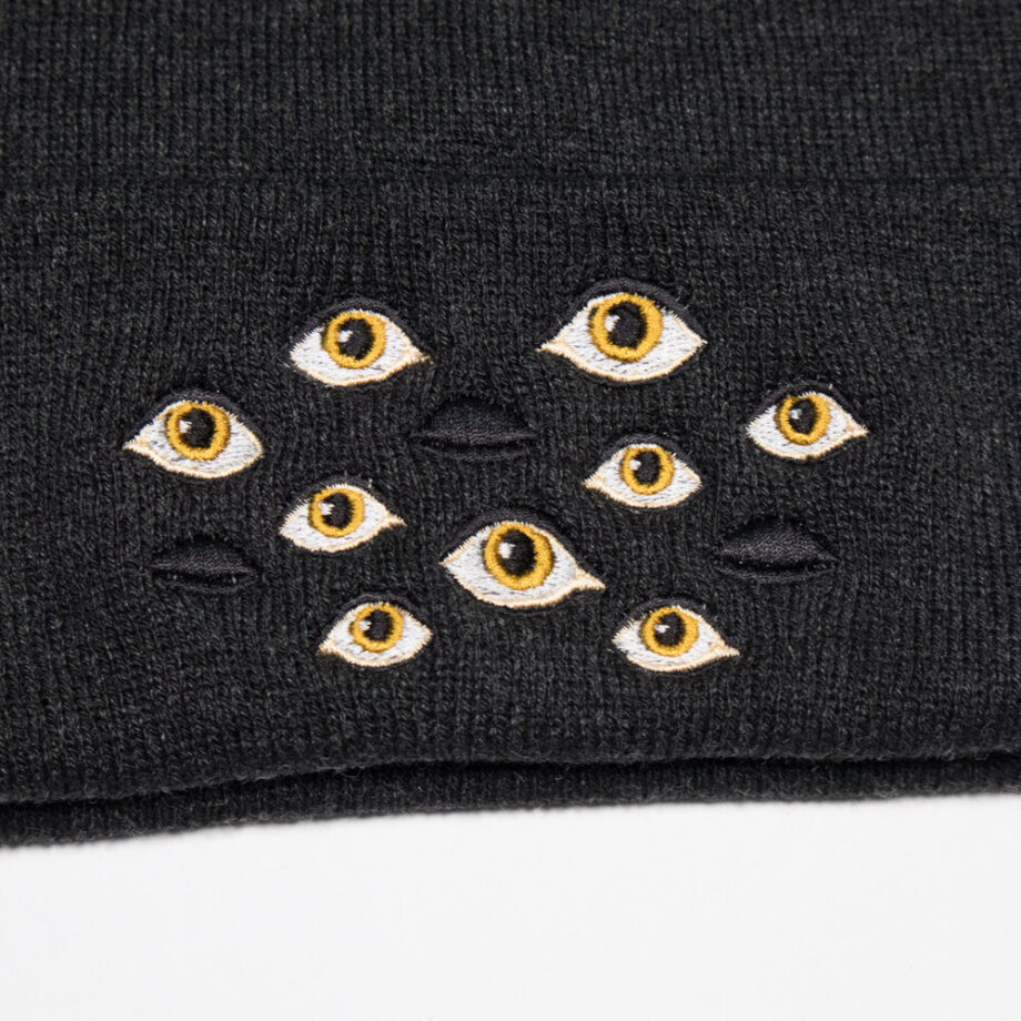 Many Eyes embroidered beanie by Crewel and Unusual