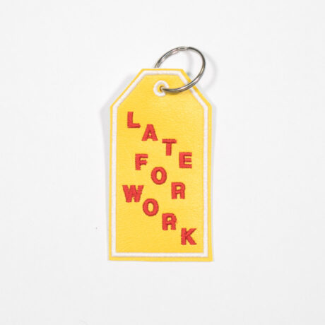 Late for Work embroidered keychain by crewel and unusual