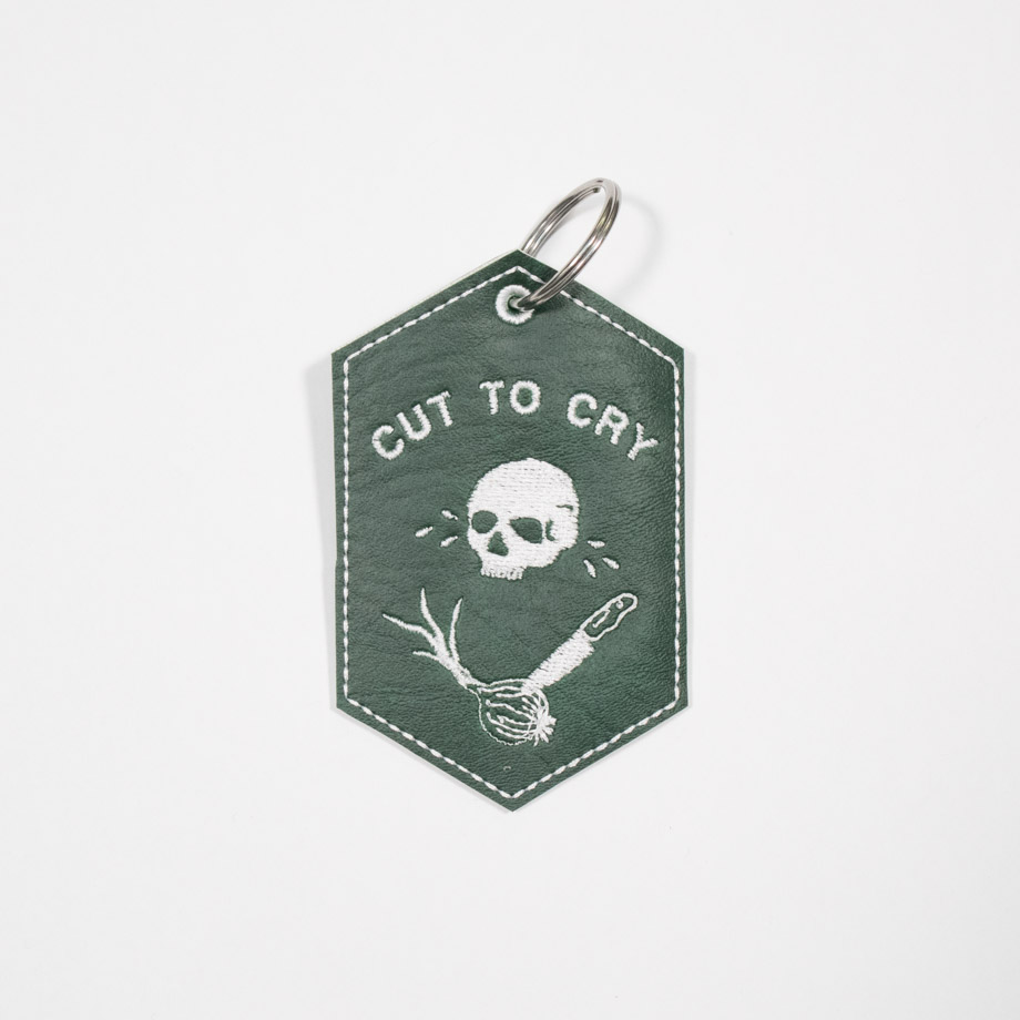 Cut to cry embroidered keychain by crewel and unusual