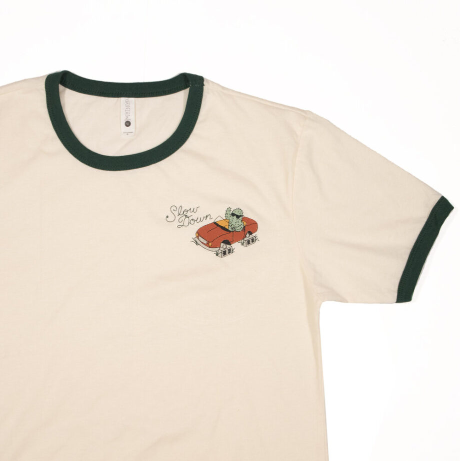 Slow Down ringer tee embroidery by Crewel and Unusual