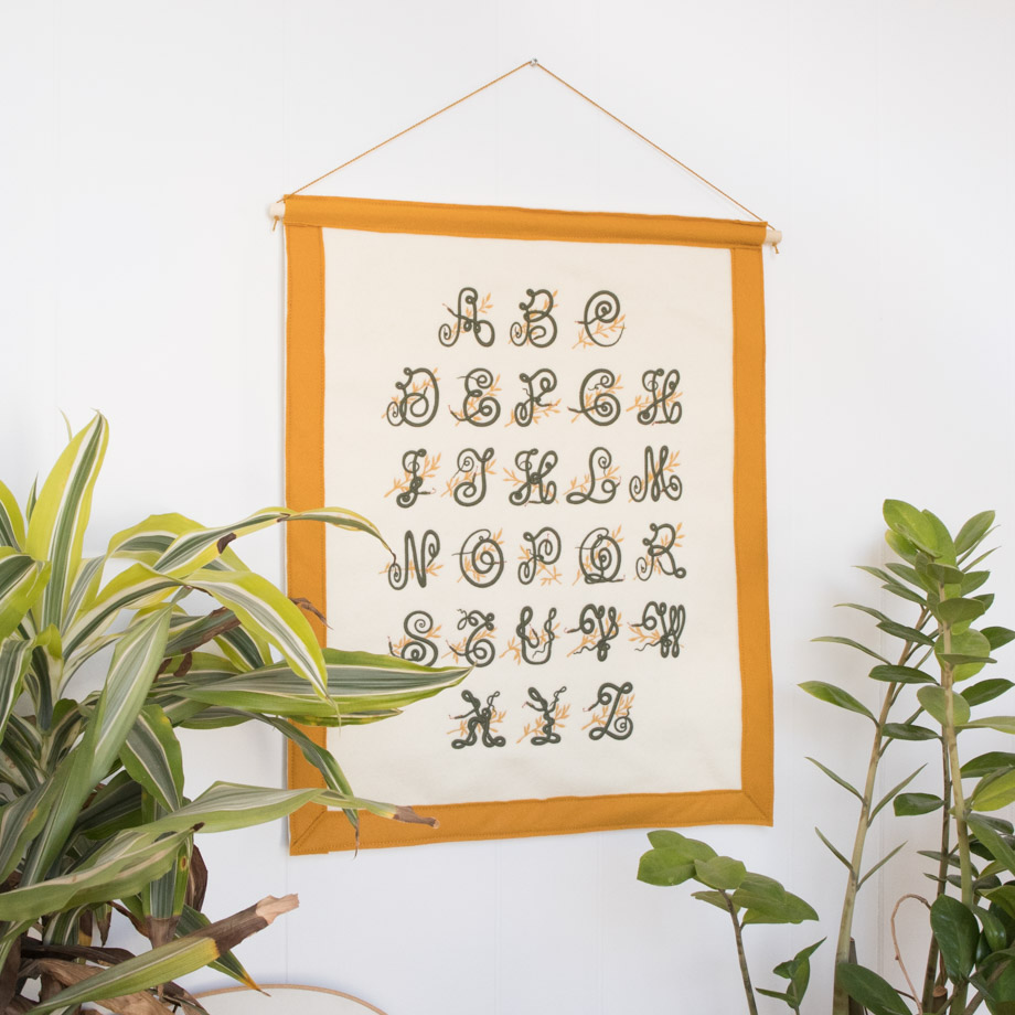 Embroidered Snake Alphabet Banner by Crewel and Unusual